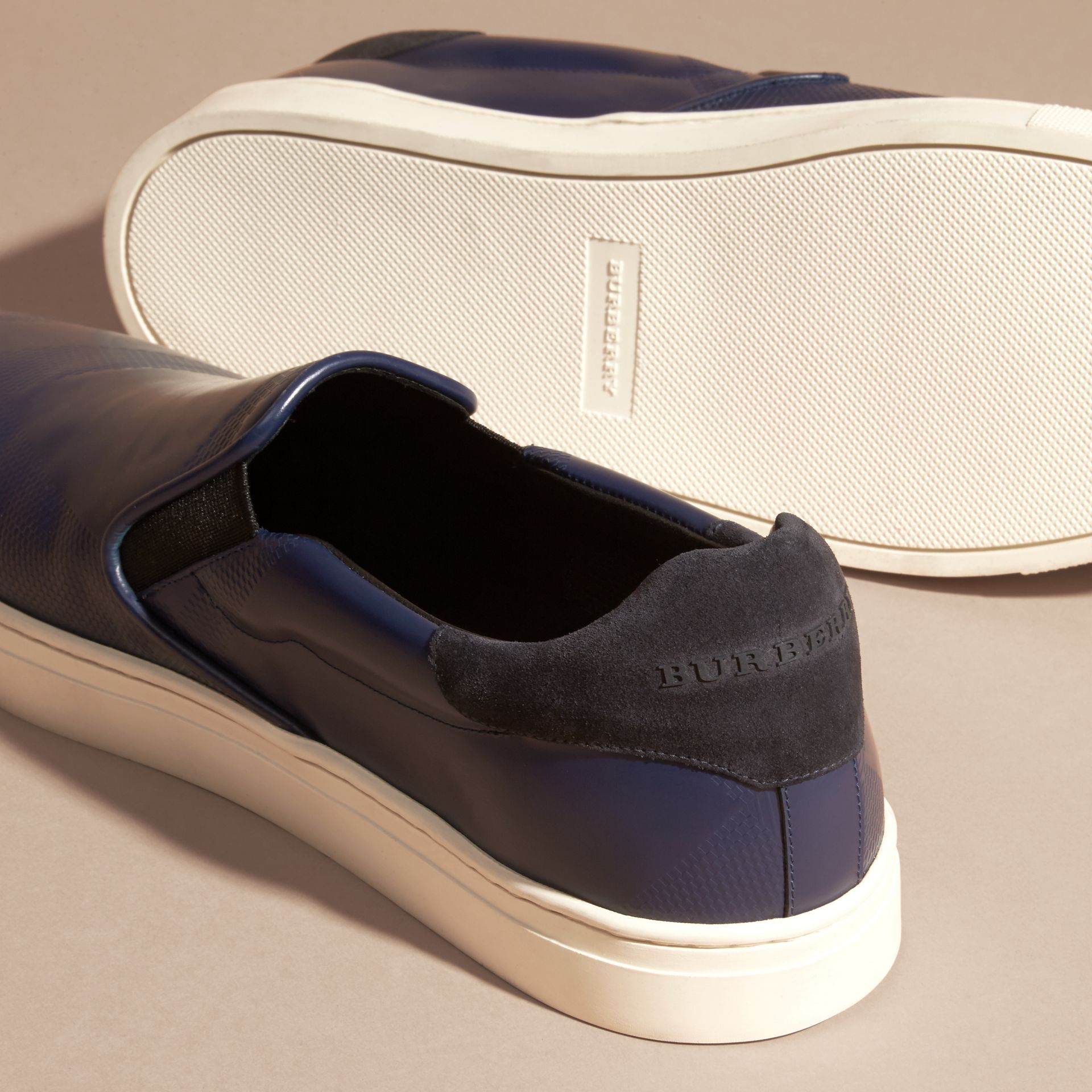 Lapis blue Check-embossed Leather Slip-on Trainers - gallery image 5