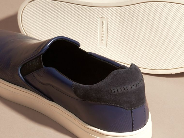 Lapis blue Check-embossed Leather Slip-on Trainers - cell image 4