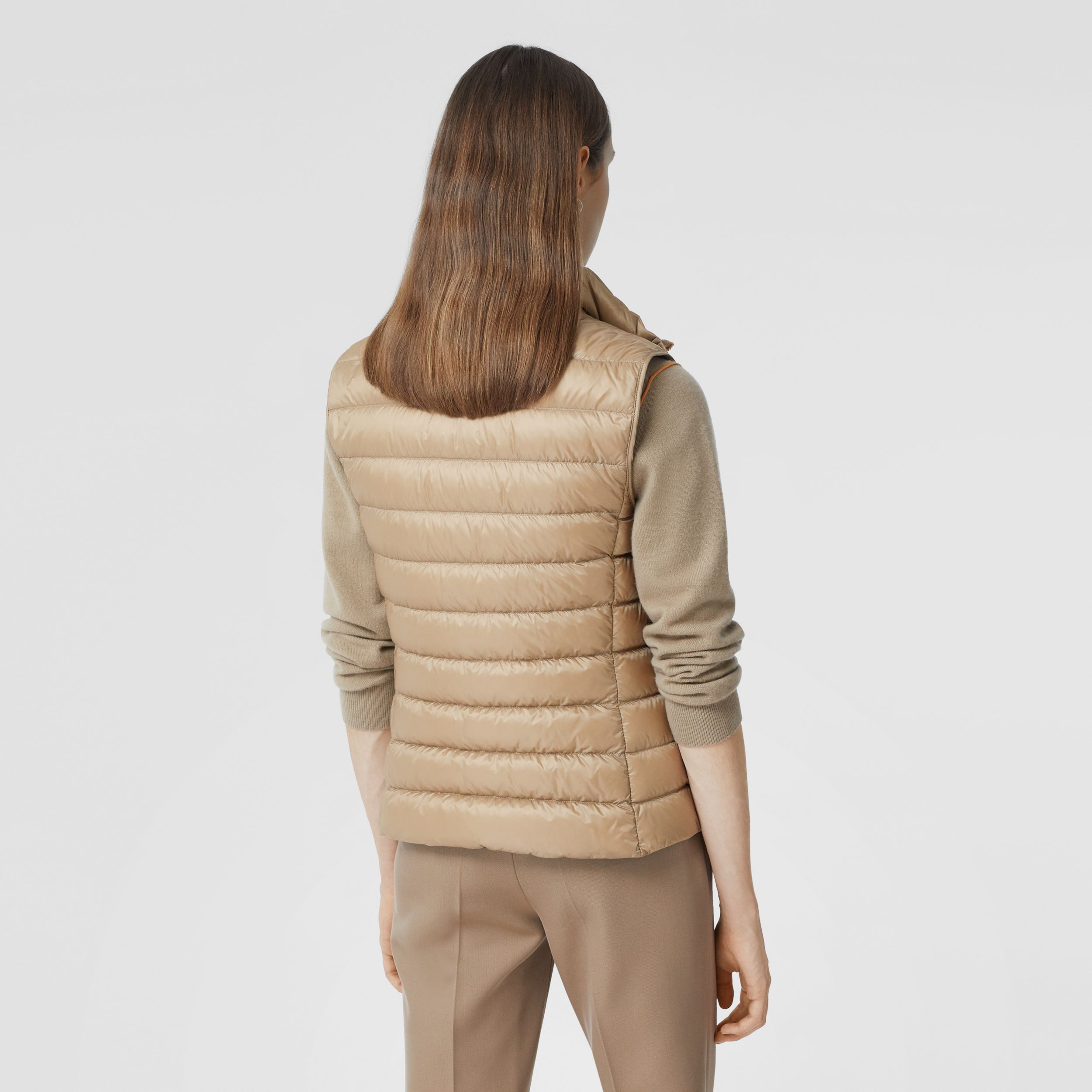 Monogram Print-lined Lightweight Puffer Gilet in Honey - Women | Burberry - 3