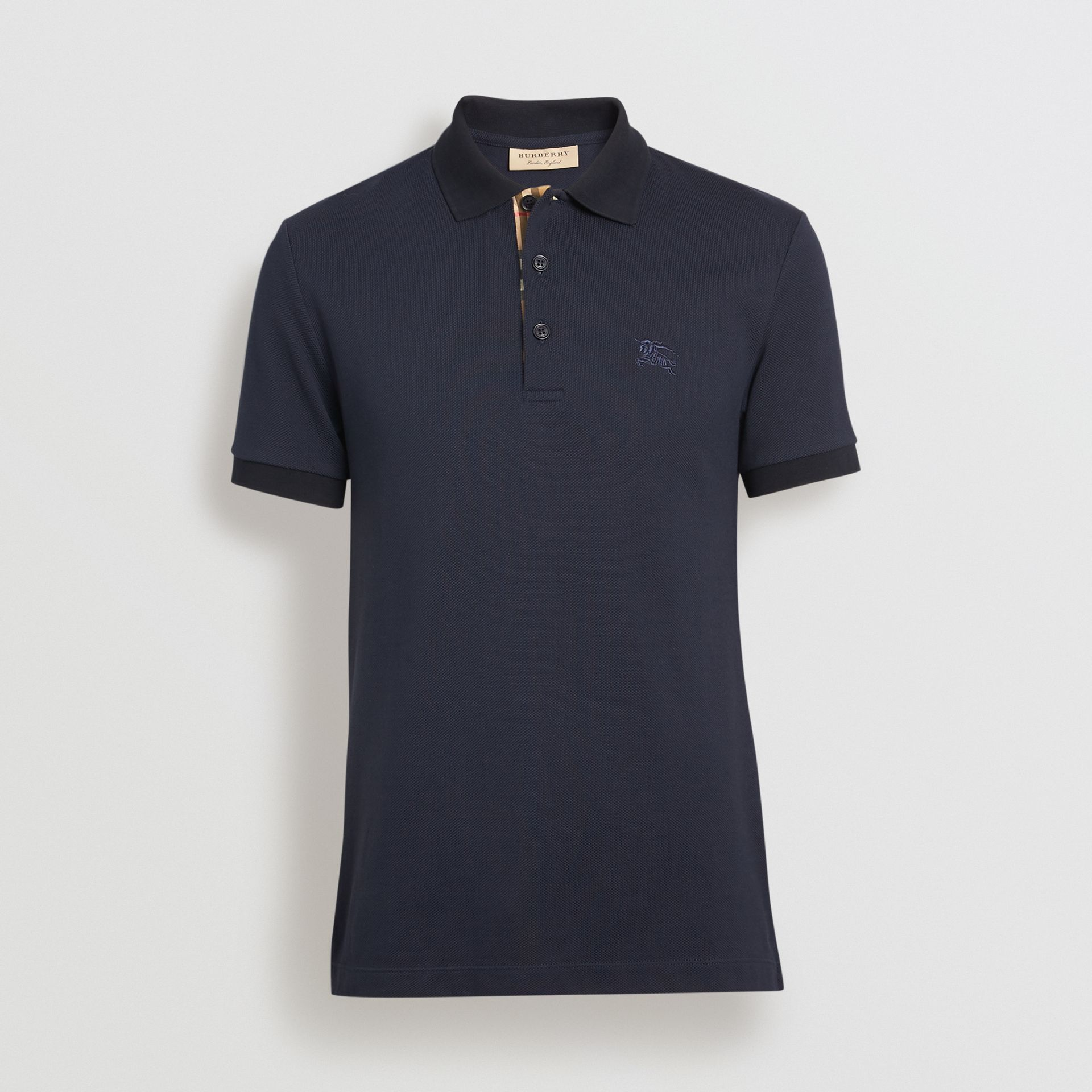 Check Placket Cotton Polo Shirt in Navy - Men | Burberry - gallery image 3