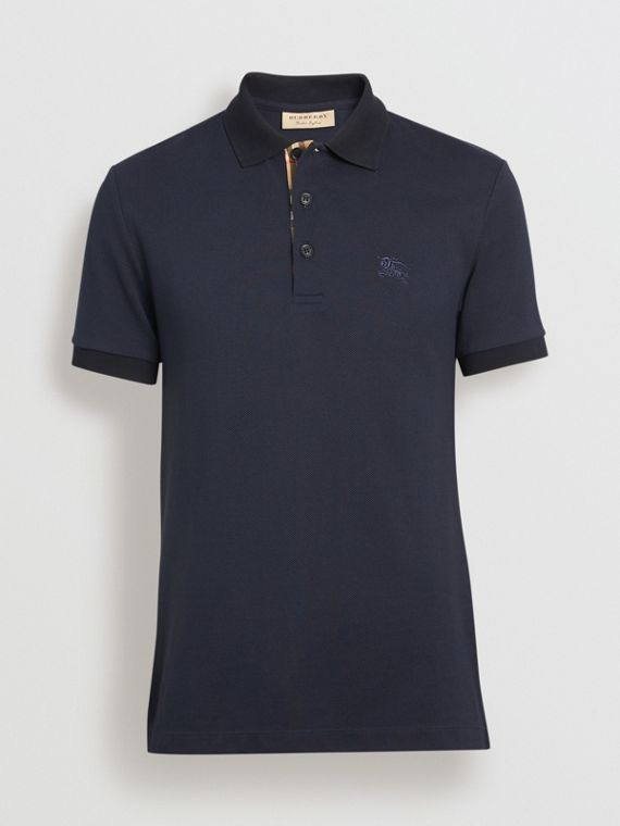 Check Placket Cotton Polo Shirt in Navy 75fb533dd7