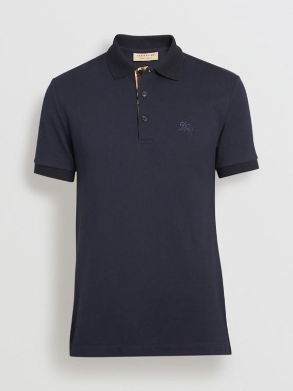 bbcafa824c490 Check Placket Cotton Polo Shirt in Navy