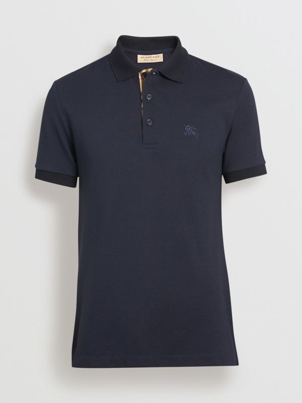 Check Placket Cotton Polo Shirt in Navy - Men | Burberry Singapore - cell image 3