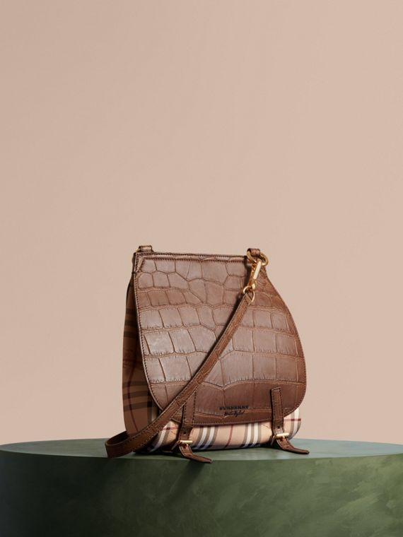The Small Bridle Bag in Alligator and Haymarket Check