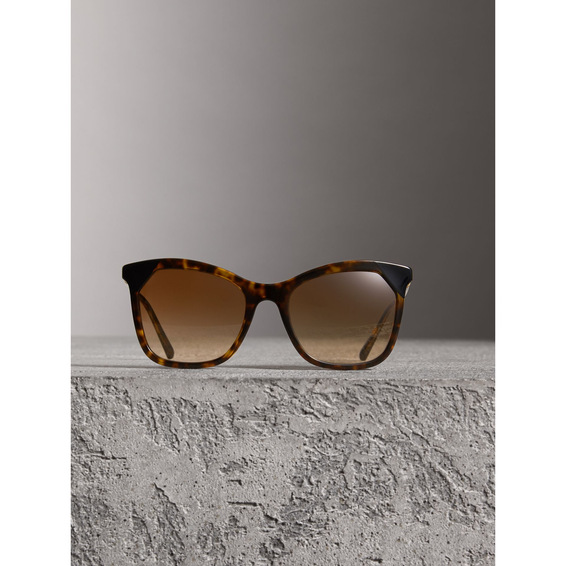 Tortoiseshell Square Frame Sunglasses in Brown - Women | Burberry - gallery image 2