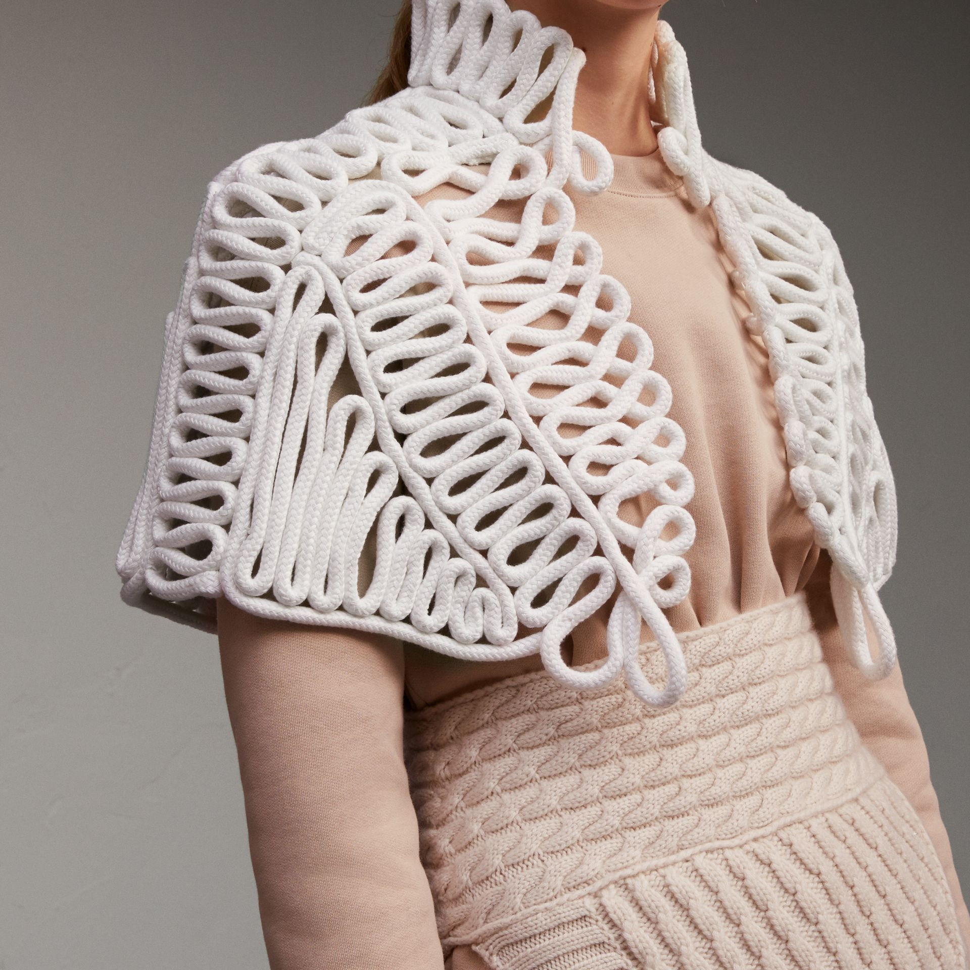 Hand-looped Rope Capelet in White - Women | Burberry - gallery image 5