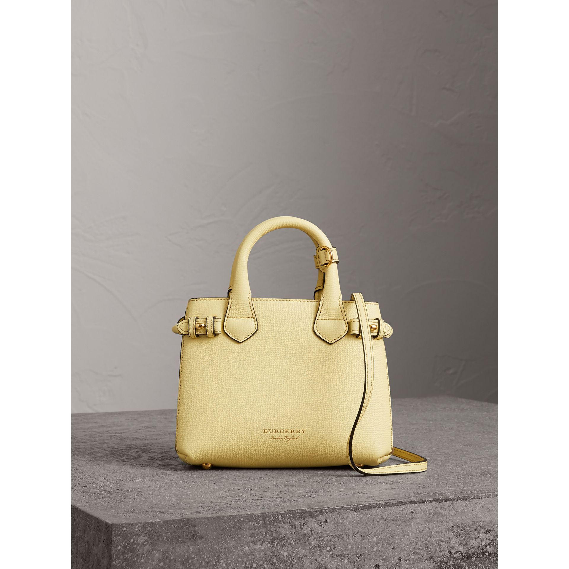 The Baby Banner in Leather and House Check in Camomile Yellow - Women | Burberry - gallery image 5