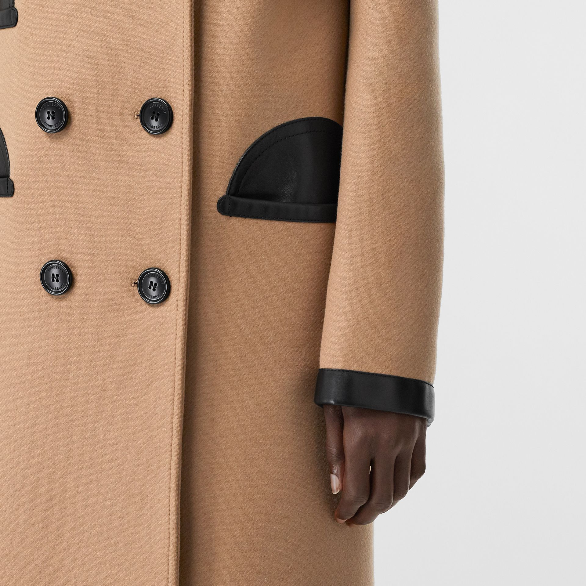 Lambskin Trim Wool Cashmere Blend Tailored Coat in Camel - Women | Burberry United Kingdom - gallery image 4