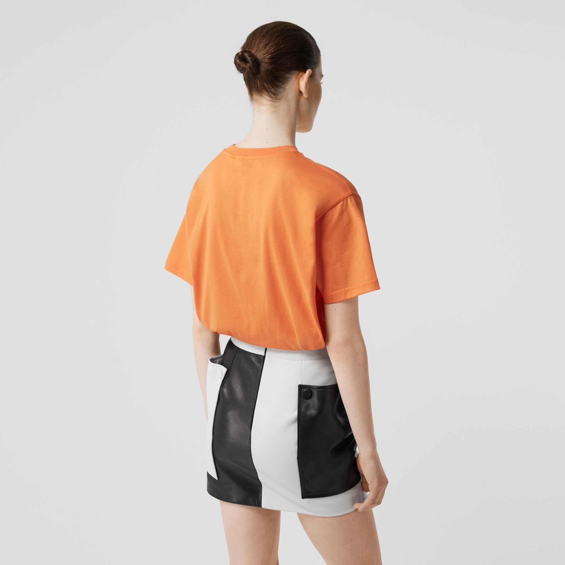 Embroidered Logo Cotton Oversized T-shirt in Bright Orange - Women | Burberry Hong Kong S.A.R - gallery image 2