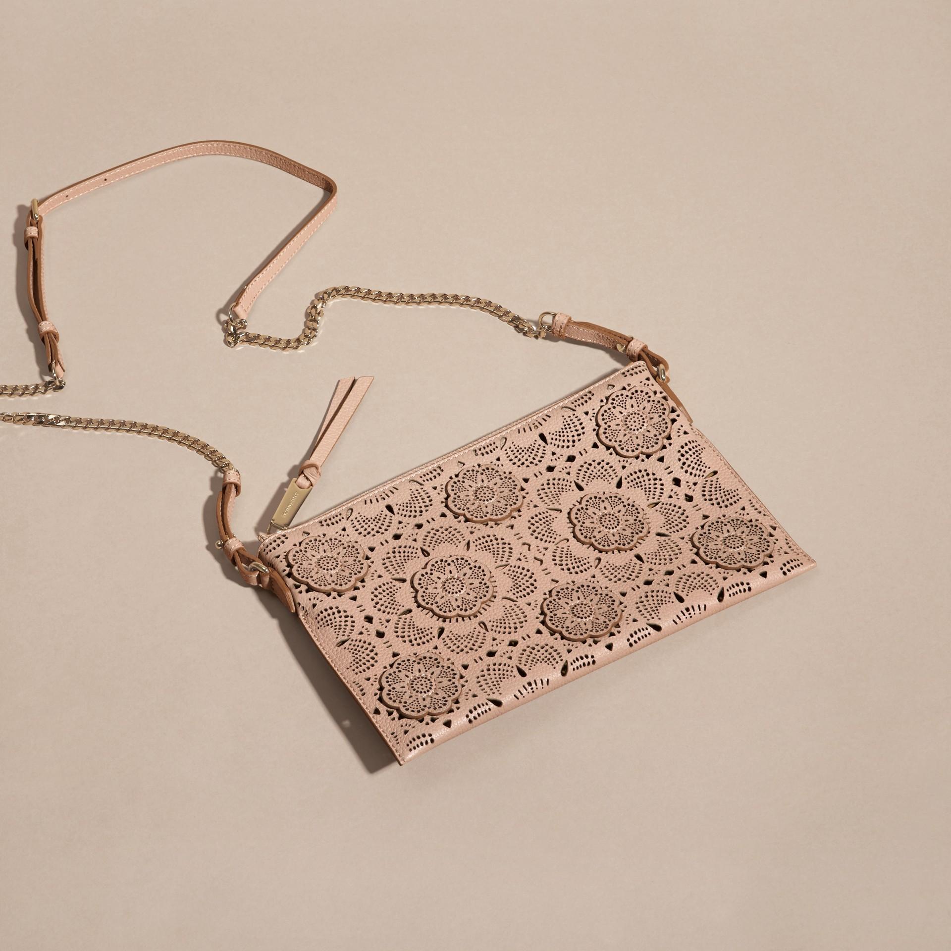 Pale apricot Laser-cut Floral Lace Leather Clutch Bag Pale Apricot - gallery image 7