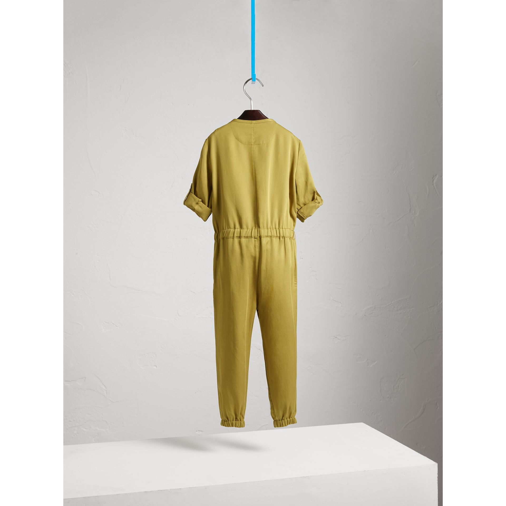 Drawcord Waist Lyocell Jumpsuit in Olive - Girl | Burberry - gallery image 4