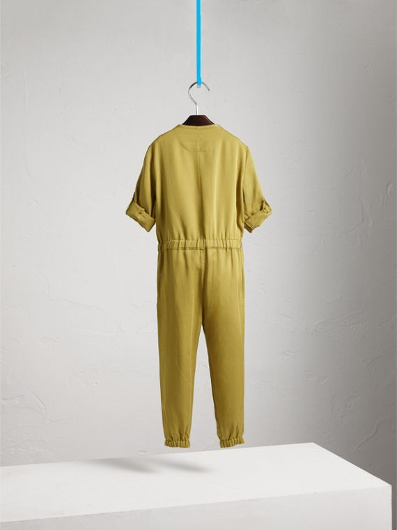 Drawcord Waist Lyocell Jumpsuit in Olive - Girl | Burberry - cell image 3