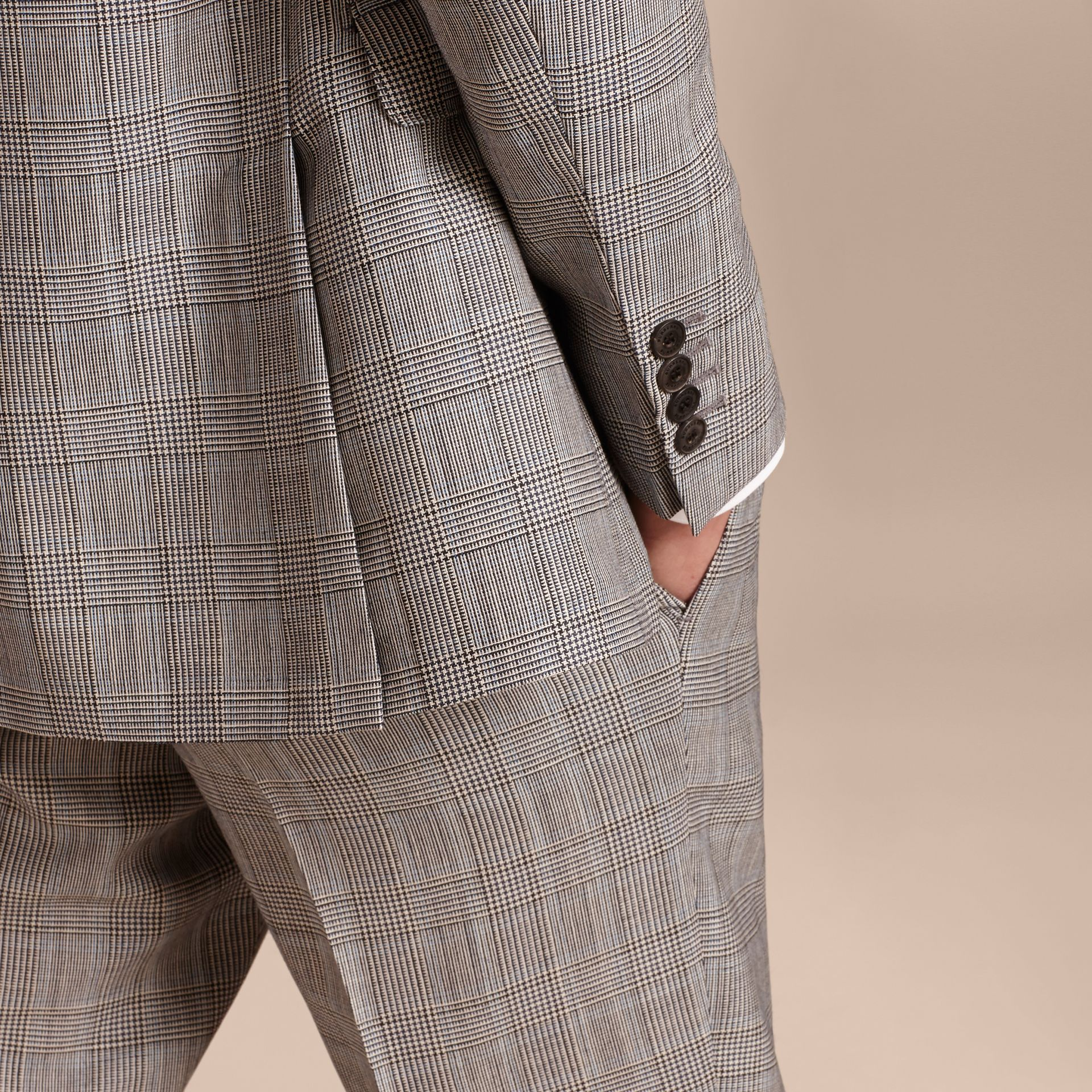 Pale grey Slim Fit Prince of Wales Check Wool Half-canvas Suit - gallery image 6