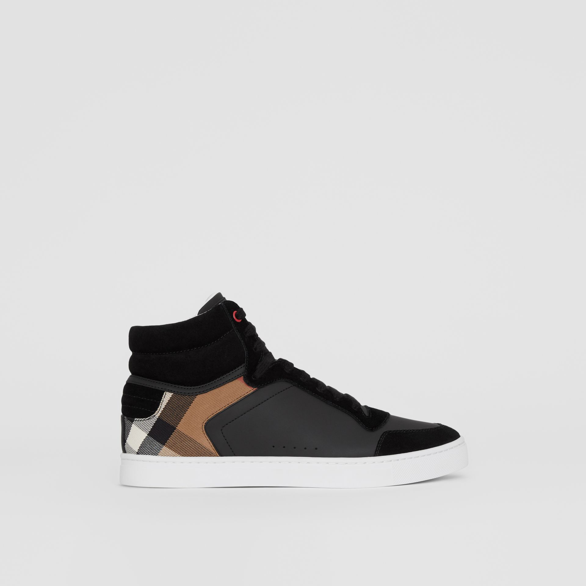 Leather and House Check High-top Sneakers in Black - Men | Burberry Australia - gallery image 5