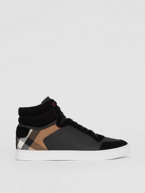 Leather and House Check High-top Sneakers in Black