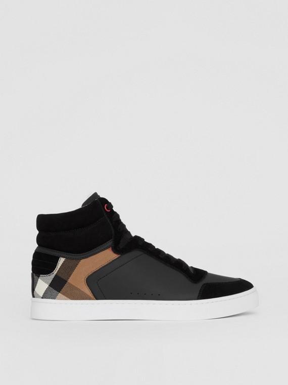 House 格紋皮革高筒運動鞋 (黑色)