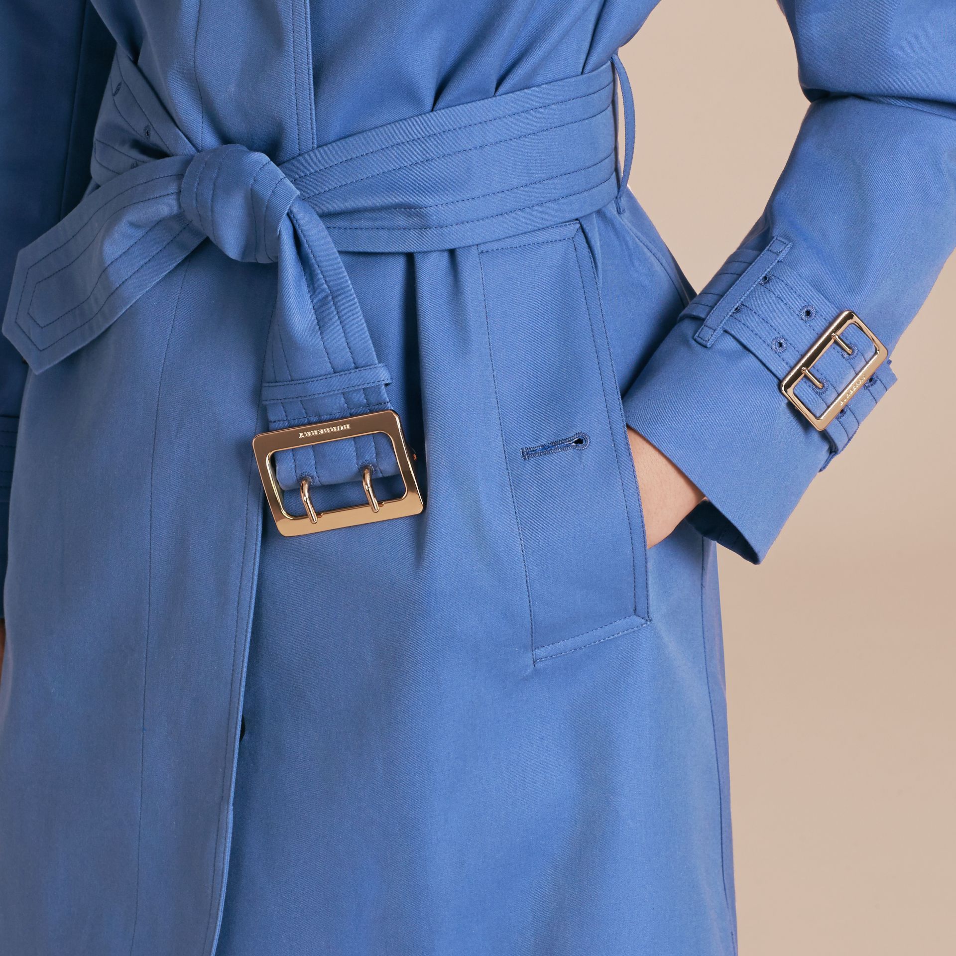 Bright steel blue Single-breasted Trench Coat with Metal Buckle Detail Bright Steel Blue - gallery image 5
