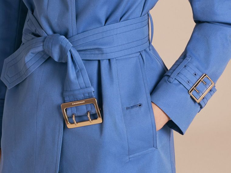 Bright steel blue Single-breasted Trench Coat with Metal Buckle Detail Bright Steel Blue - cell image 4