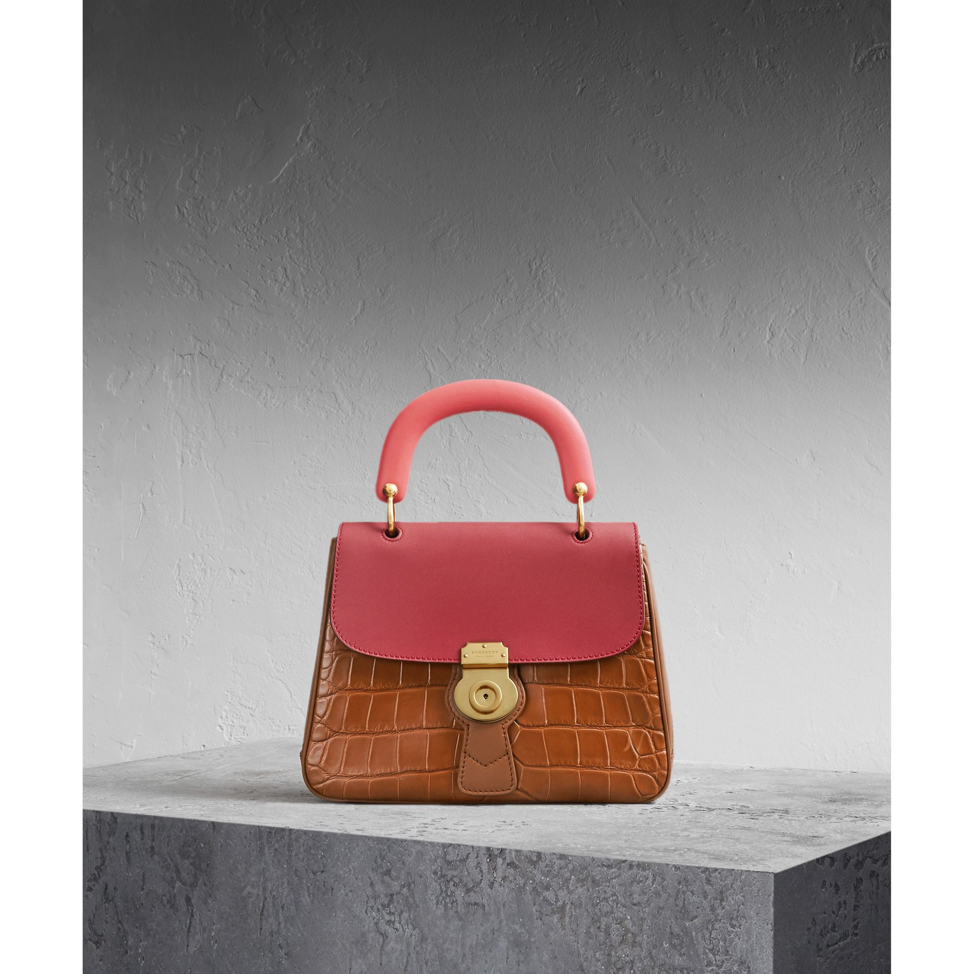 The Medium DK88 Top Handle Bag with Alligator Tan/antique Red - gallery image 1