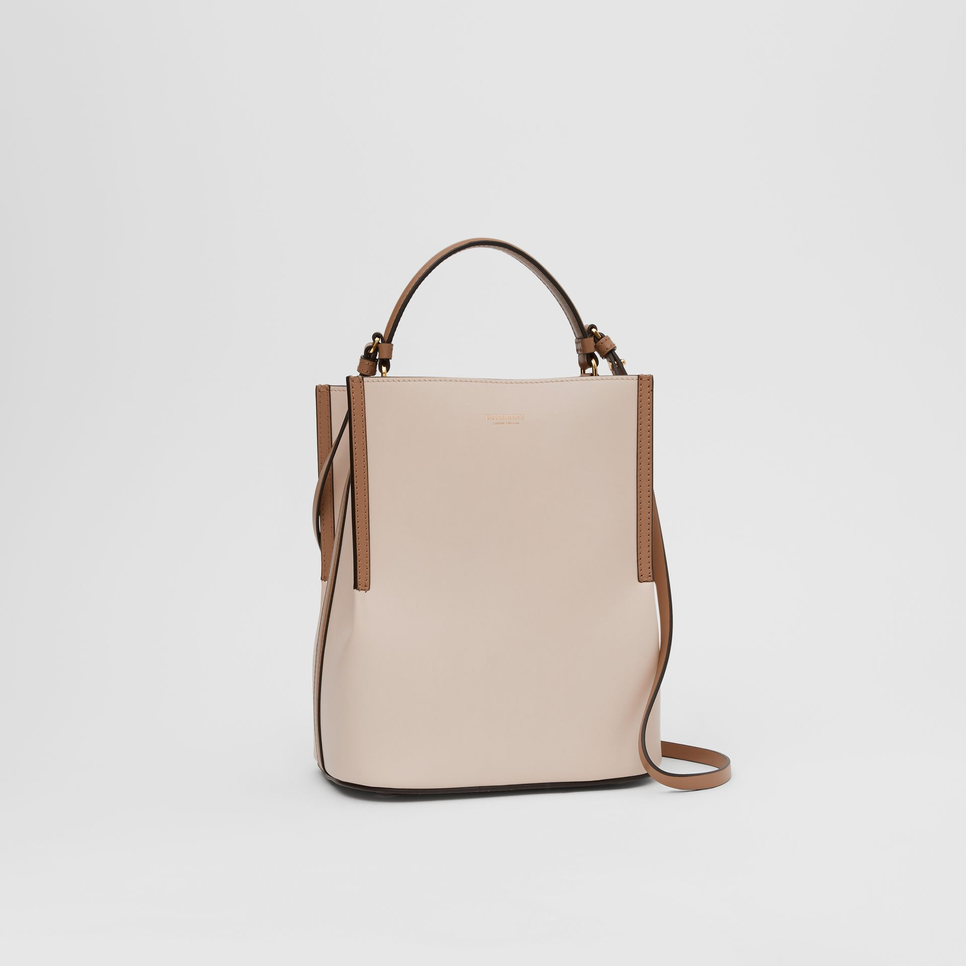 Small Two-tone Leather Peggy Bucket Bag in Buttermilk - Women | Burberry - gallery image 4