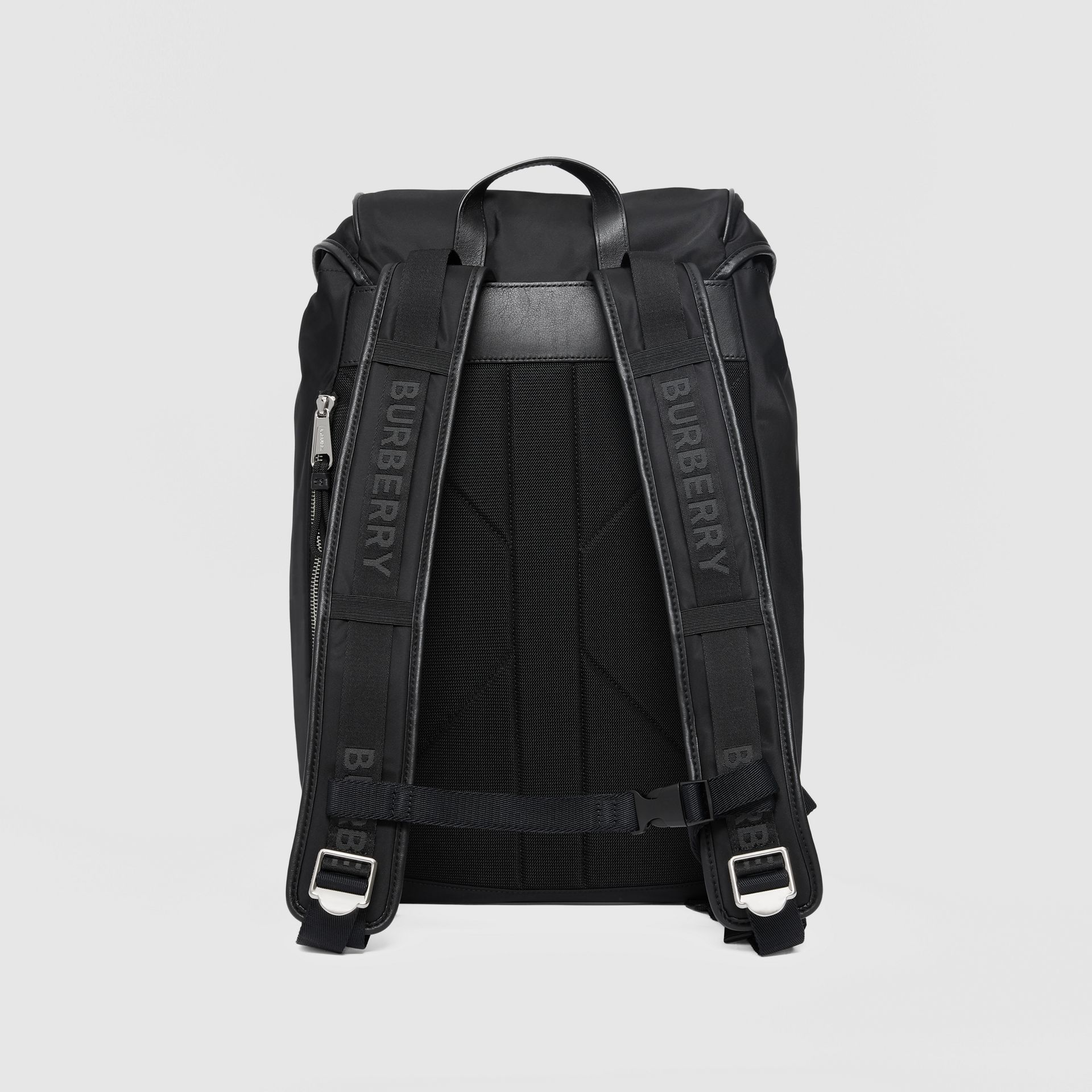 Logo Print ECONYL® Backpack in Black | Burberry Australia - gallery image 7