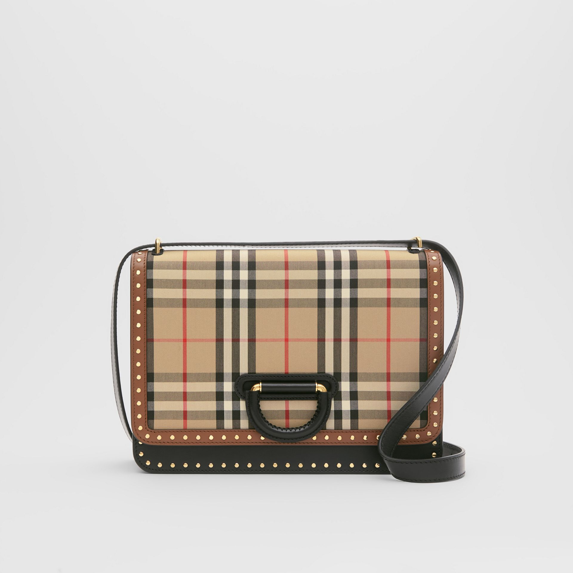 The Medium Leather and Vintage Check D-ring Bag in Archive Beige - Women | Burberry - gallery image 0