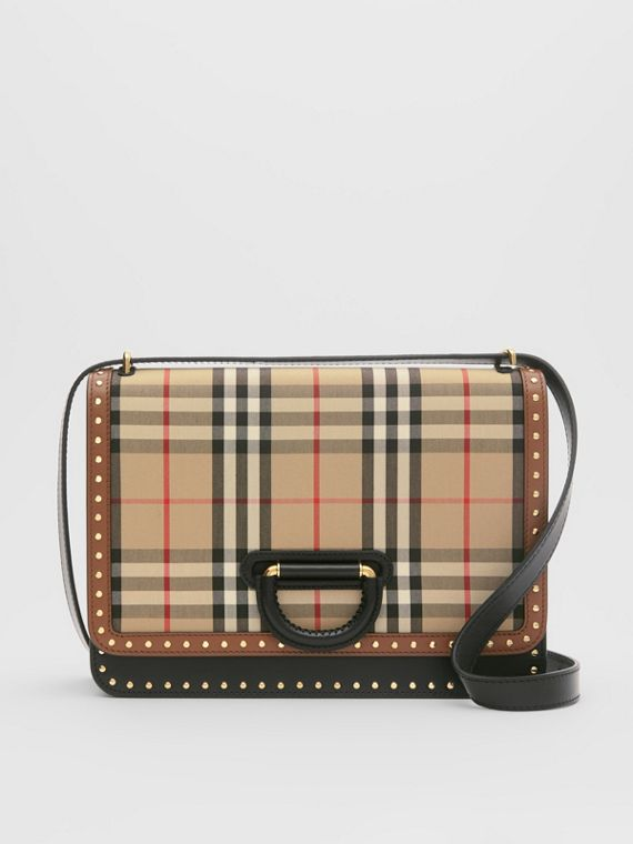 Bolso D-ring mediano en piel con panel a cuadros Vintage Checks (Beige)