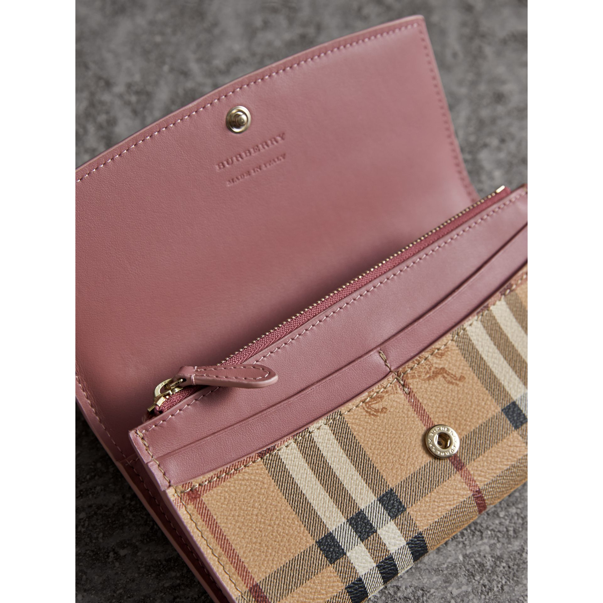 Haymarket Check and Leather Slim Continental Wallet in Light Elderberry - Women | Burberry - gallery image 3