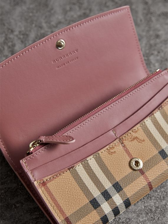 Haymarket Check and Leather Slim Continental Wallet in Light Elderberry - Women | Burberry - cell image 3