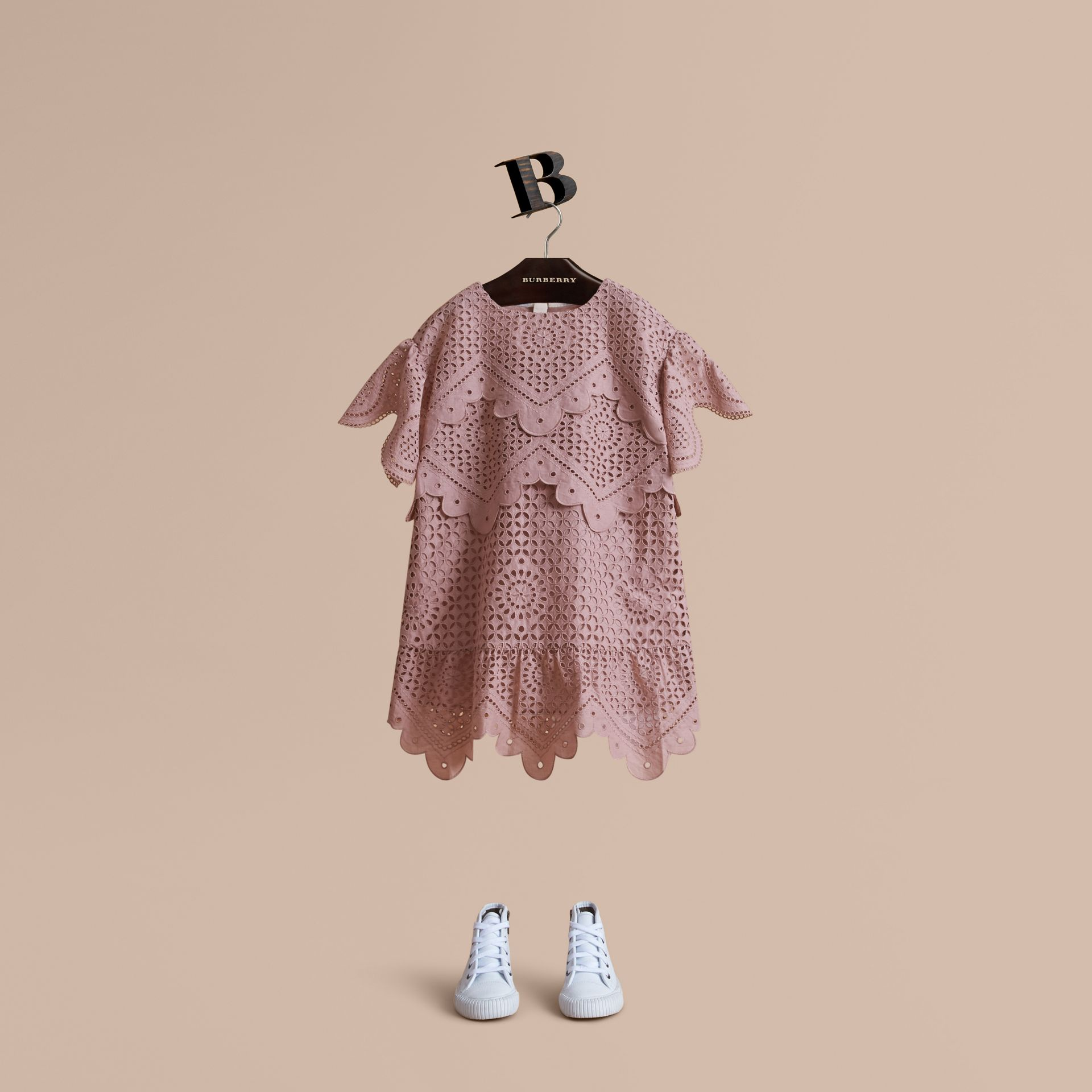 Layered Broderie Anglaise Cotton Dress in Dusty Pink | Burberry Hong Kong - gallery image 1