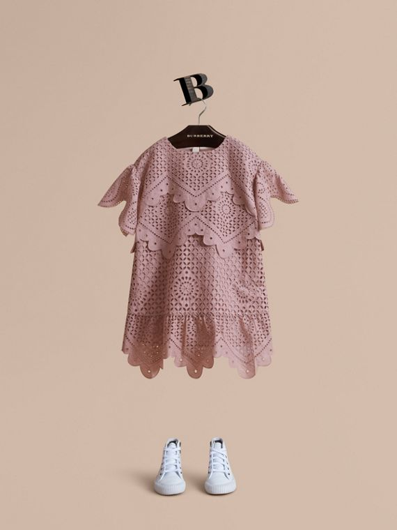 Layered Broderie Anglaise Cotton Dress in Dusty Pink