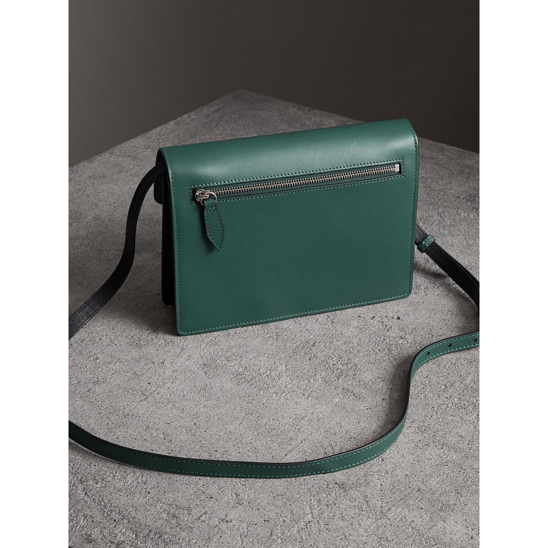 Two-tone Leather Crossbody Bag in Black/sea Green - Women | Burberry - gallery image 4