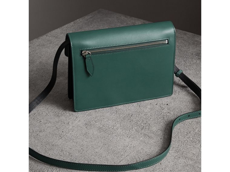 Two-tone Leather Crossbody Bag in Black/sea Green - Women | Burberry - cell image 4