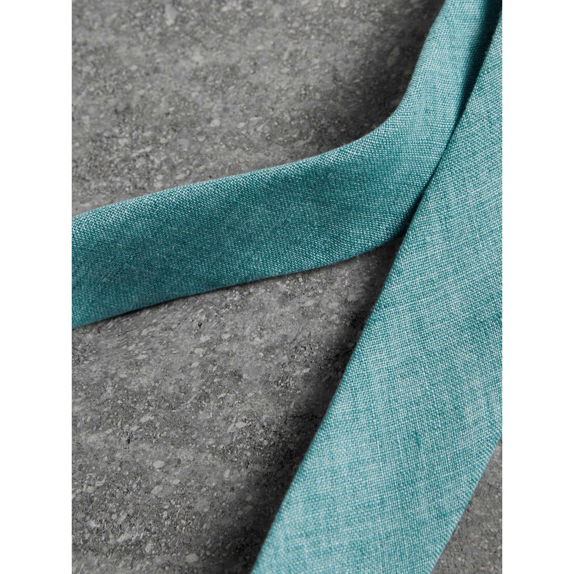 Slim Cut Linen Tie in Pale Turquoise - Men | Burberry - gallery image 1