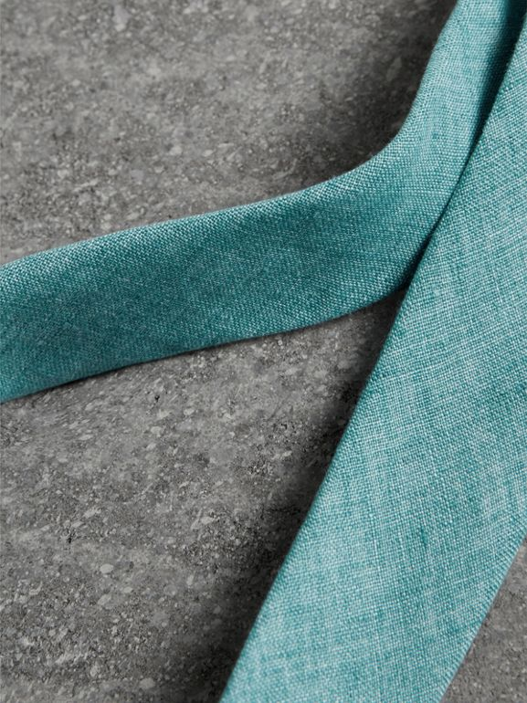 Slim Cut Linen Tie in Pale Turquoise - Men | Burberry - cell image 1
