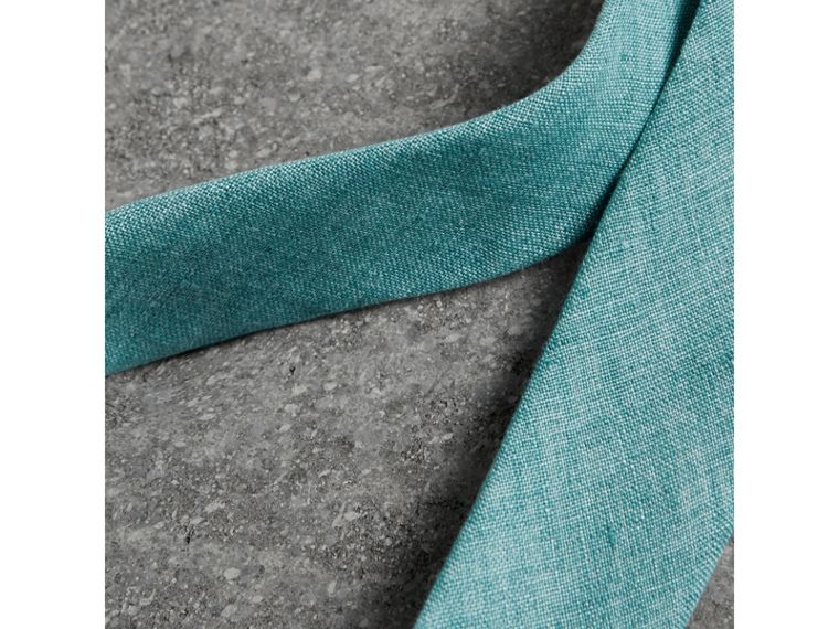 Slim Cut Linen Tie in Pale Turquoise - Men | Burberry Australia - cell image 1