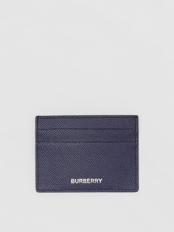Grainy Leather Card Case in Regency Blue