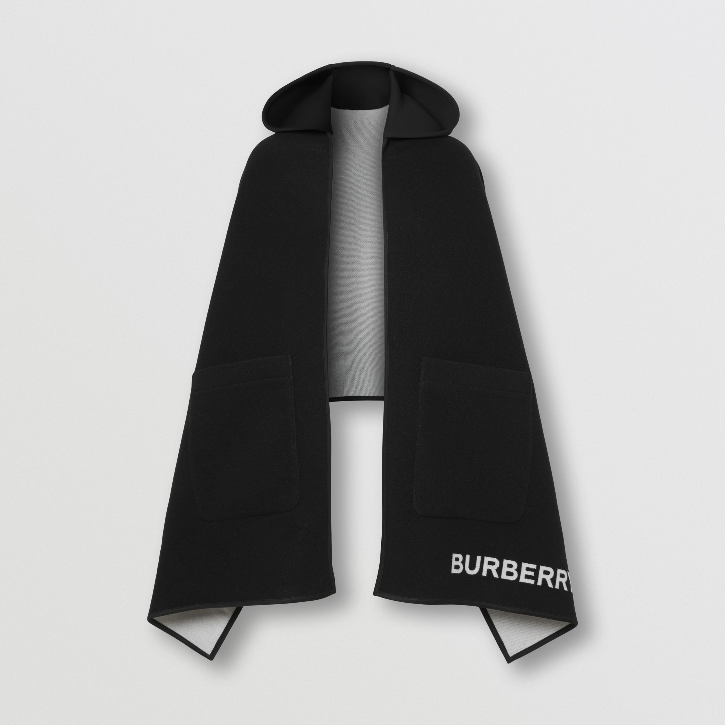 Crystal Globe Graphic Wool Silk Hooded Cape in Black/white - Women | Burberry - 4