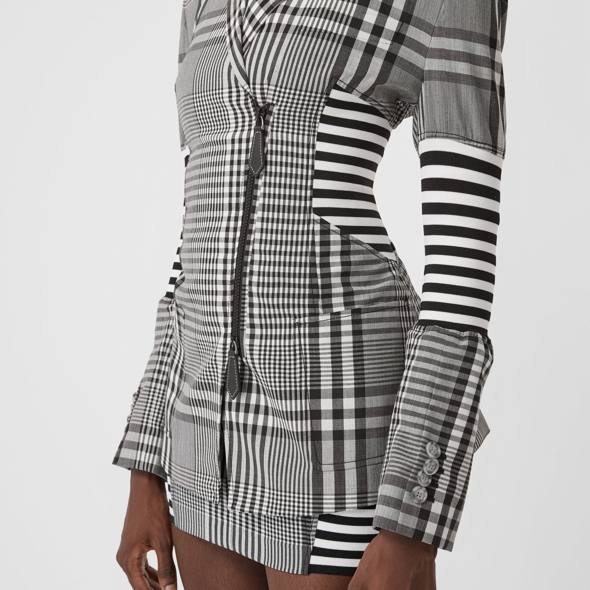 Corset Detail Check Technical Wool Blazer in Black - Women | Burberry - gallery image 4