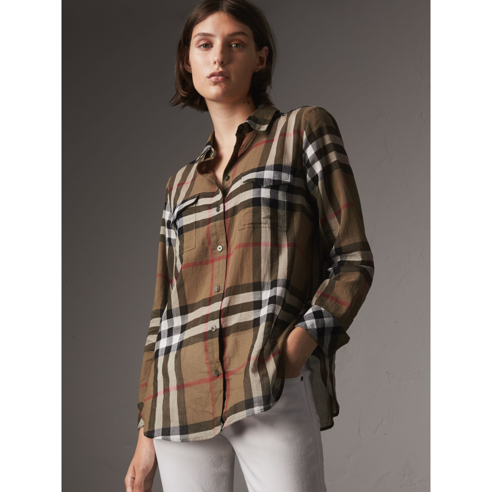 Check Cotton Shirt in Taupe Brown - Women | Burberry Hong Kong - gallery image 1