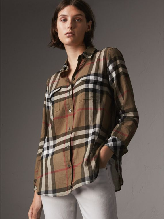 Camisa en algodón con estampado de checks (Marrón Taupe)