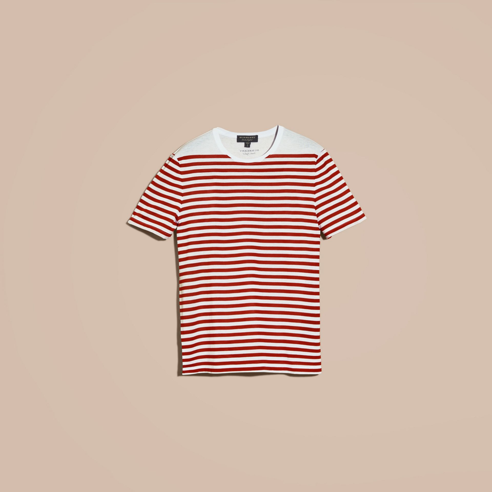 Rust red Striped Cotton T-shirt Rust Red - gallery image 4