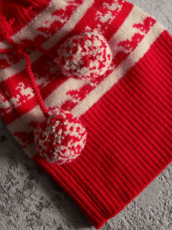 Drawstring Pom-pom Wool Cashmere Beanie in Military Red - Women | Burberry - cell image 1