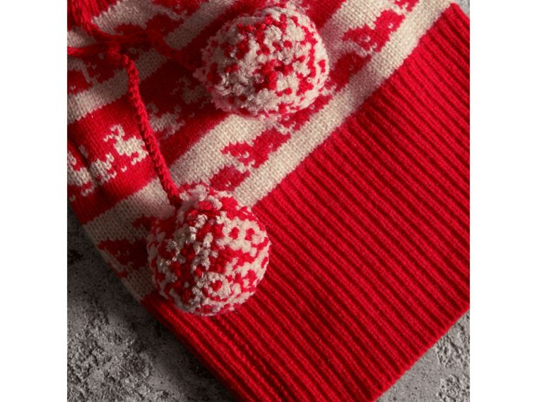 Drawstring Pom-pom Wool Cashmere Beanie in Military Red | Burberry - cell image 1