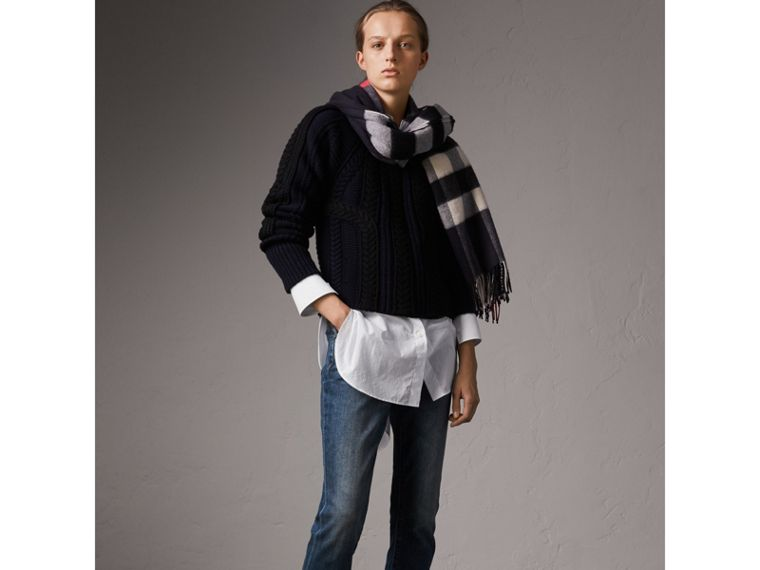 Check Cashmere and Wool Poncho in Navy - Women | Burberry - cell image 4