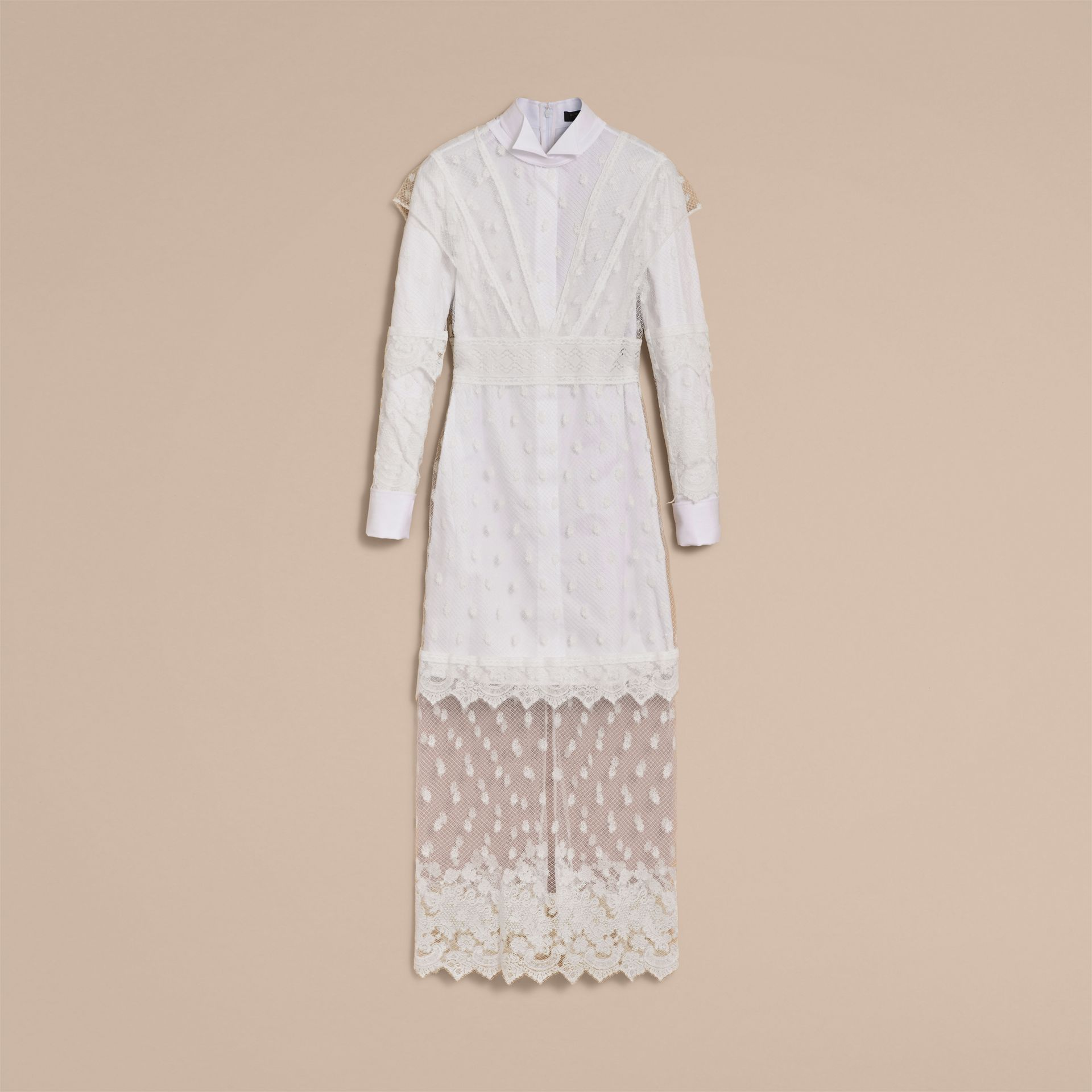 Embroidered Tulle and Cotton Shirt Dress in Off White - Women | Burberry - gallery image 4