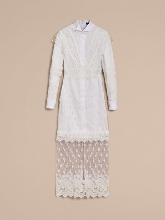 Embroidered Tulle and Cotton Shirt Dress in Off White - Women | Burberry - cell image 3