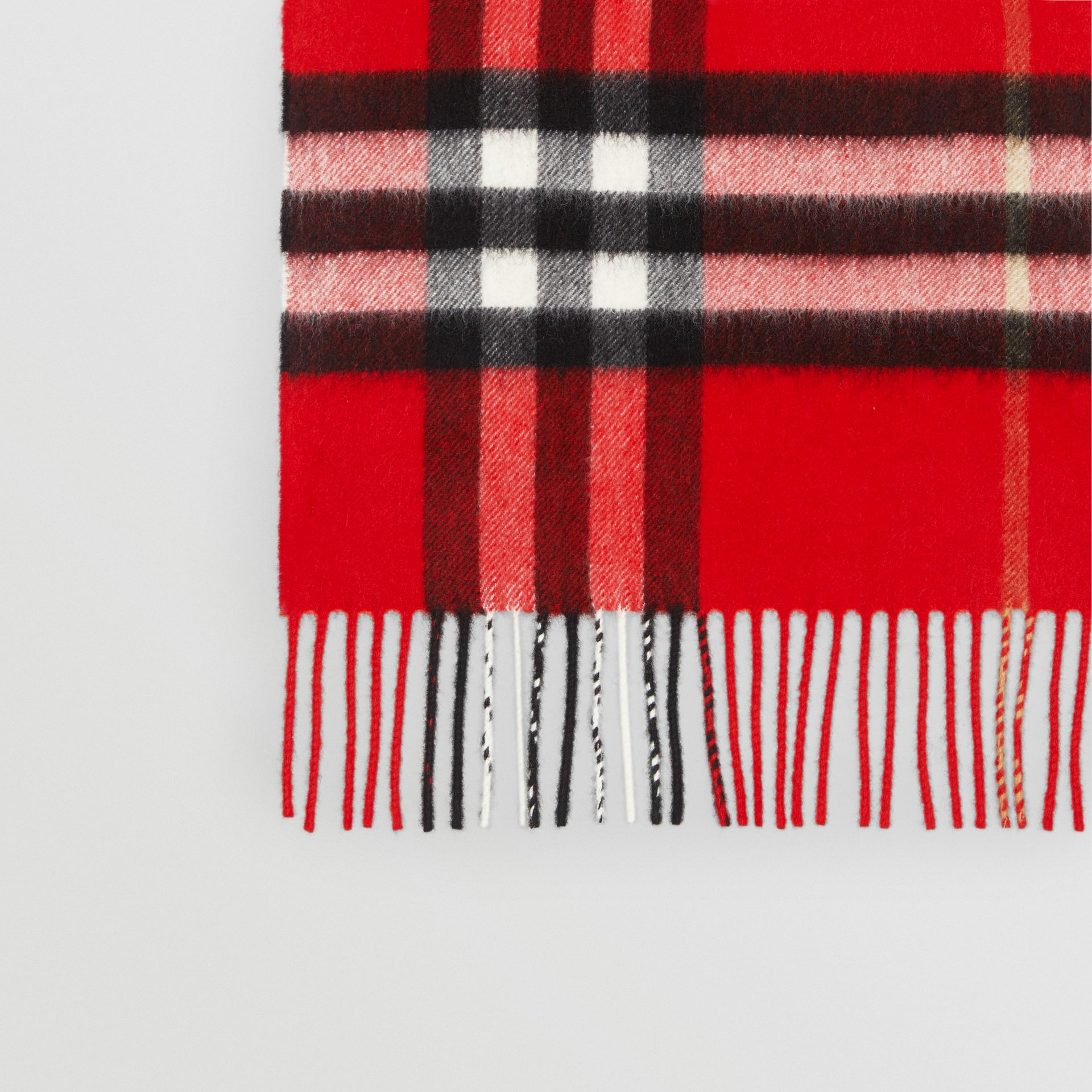 The Classic Check Cashmere Scarf in Bright Military Red | Burberry Canada - gallery image 1