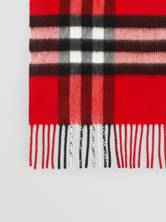 The Classic Check Cashmere Scarf in Bright Military Red | Burberry United Kingdom - cell image 1
