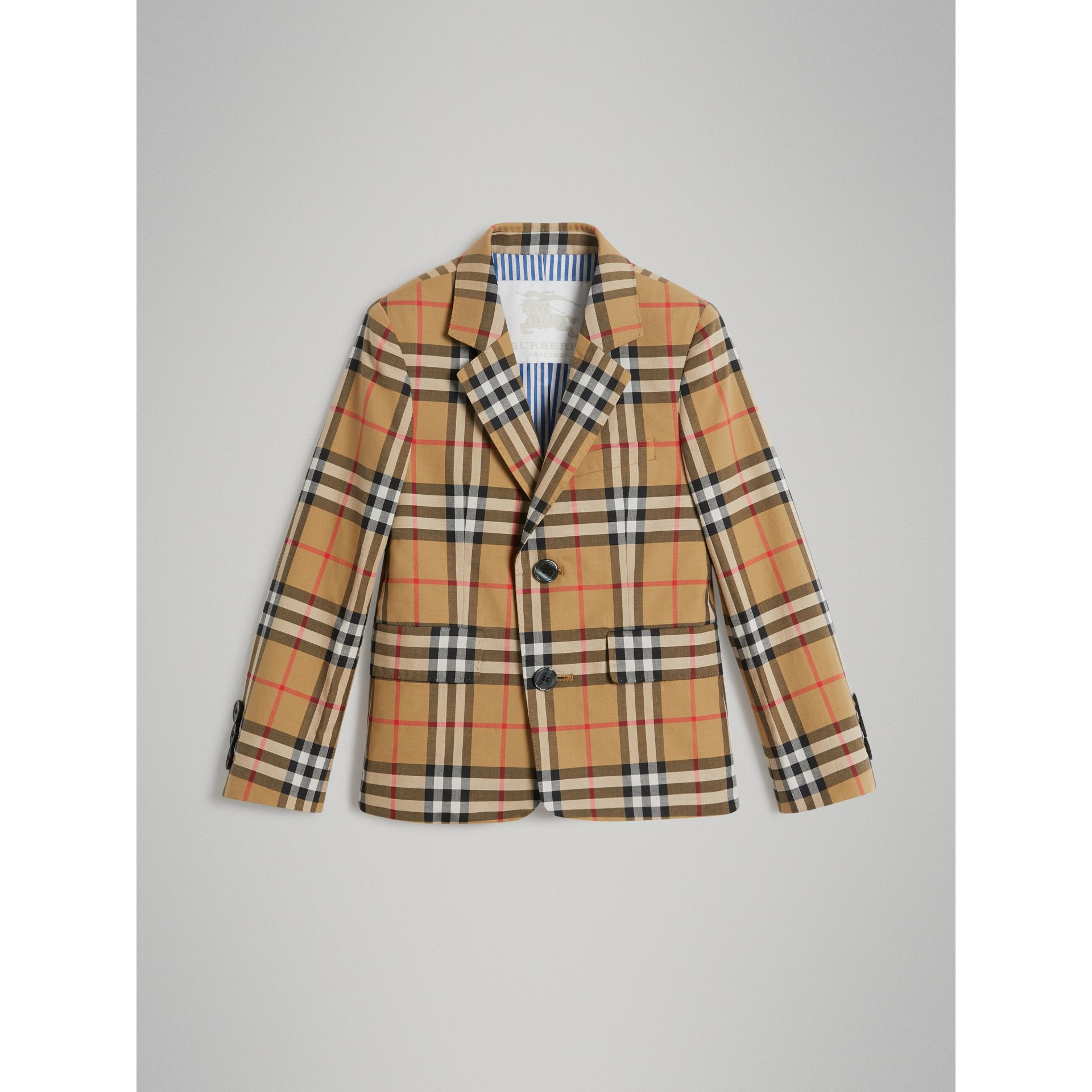 Vintage Check Cotton Blazer in Antique Yellow | Burberry Australia - gallery image 0